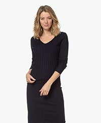 Filippa K Wendy Rib Knitted V-neck Sweater - Navy
