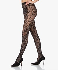 Wolford Morgan Floral Lace Tights - Black