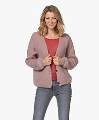 by-bar Soof Mohair Blend Buttoned Cardigan - Lilac Grey