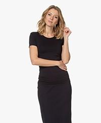 Majestic Filatures Alison T-shirt met Hoge Ronde Hals - Navy
