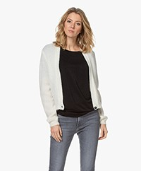 Sibin/Linnebjerg Celine Mohair Blend Single-button Cardigan - Off-white