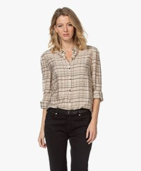 MKT Studio Charlie Viscose Blend Plaid Lurex Blouse - Nude