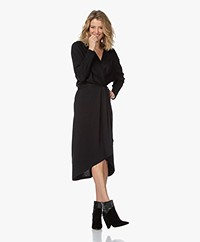 IRO Botena Linen Jersey Wrap Dress - Black