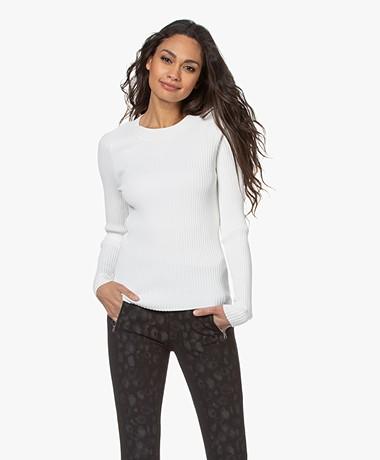 Rag & Bone Cadee Mixed Media Sweater - Chalk