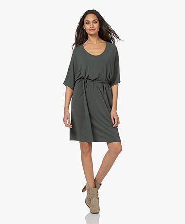 no man's land Crepe Jersey Dress - Dark Eucalyptus