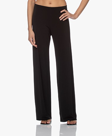 no man's land Crepe Jersey Pants with Wide Legs - Core Black