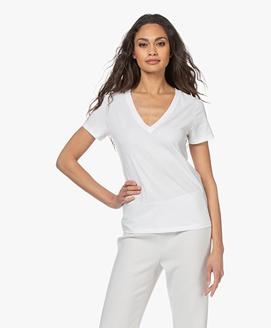Vince Essential Pima Cotton V-neck T-shirt - Optic White