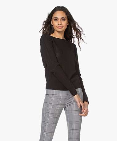 no man's land Lurex Viscose Blend Sweater - Black