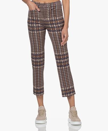 Drykorn Basket Stretch Viscose Print Pantalon - Bruin