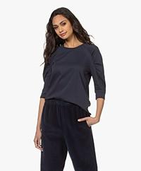 ba&sh Celian T-shirt met Pofmouwen - Donkerblauw
