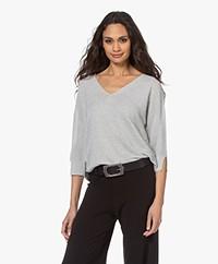 no man's land Lurex Viscose Blend Sweater - Pearl Grey