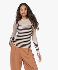Rag & Bone Kate Striped Cashmere Blend Sweater - Wheat Combo