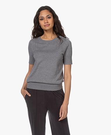 Plein Publique La Femme Pointelle Short Sleeve Pullover - Grey
