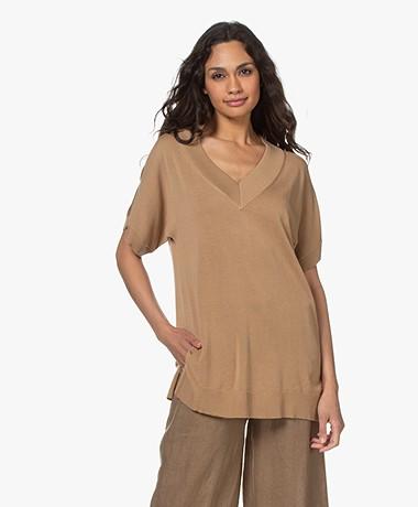 Josephine & Co Lindi Long V-neck Short Sleeve Sweater - Mocca