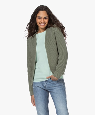 by-bar Berry Ebany Open Ribbed Cardigan - Bright Olive