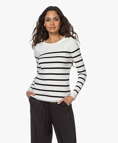 Plein Publique L'Elisa Striped Pullover with Silk - Ivory/Black