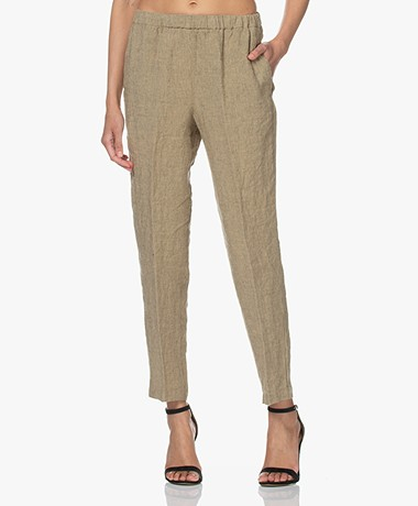 Pomandère Striped Linen Pants - Sand/Black