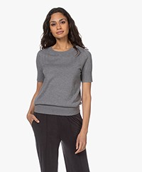 Plein Publique La Femme Pointelle Short Sleeve Pullover - Grey