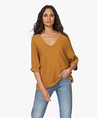 indi & cold Cotton Short Sleeve Sweater - Ambar