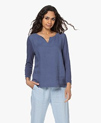 Belluna Lucy Linen Mixed Media Long Sleeve - Navy