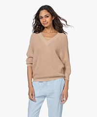 by-bar June Cotton Rib V-neck Sweater - Nude