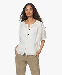 Pomandère Linen Blend Short Sleeve Blouse - Salt White