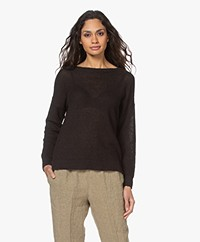 Pomandère Linen Blend Boat Neck Sweater - Black