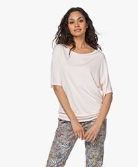 no man's land Viscose Short Sleeve T-shirt - Pink Blush