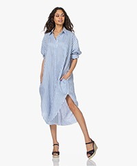 Resort Finest Ella Striped Linen Blend Shirt Dress - Azur Blue