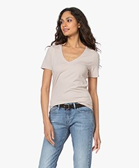 Repeat Stretch Cotton V-neck T-shirt - Beige