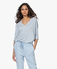 Majestic Filatures Linen T-shirt with Cropped Sleeves - Angel Blue
