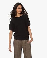 no man's land Cotton Short Sleeve Sweater - Black