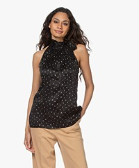 Plein Publique Le Verdun Cupro Blend Tie Neck Top - Black