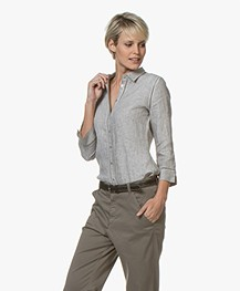 Belluna Fives Linen Blouse - Beige Melange