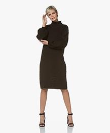 I Love Mr Mittens Balloon Sleeve Lace Midi Dress - Black