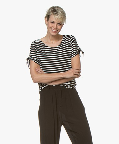 Majestic Filatures Striped T-shirt with Self-tie Details - Black/Milk