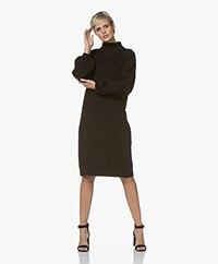 I Love Mr Mittens Balloon Sleeve Lace Midi Dress - Black