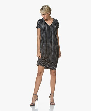 JapanTKY Ami Striped Travel Jersey Dress - Black Blue/White