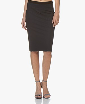 JapanTKY Nobi Travel Jersey Pencil Skirt - Black Blue