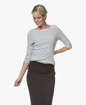 no man's land Striped Rib T-Shirt with Cropped Sleeves - Ivory/Dark Sapphire
