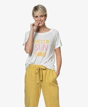 Repeat Linnenmix Hello Sunshine T-shirt - Crème