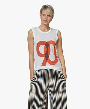 ba&sh Daisy Jersey Print Top met Cashmere - Off-white