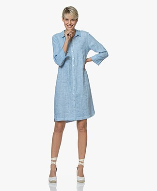 Belluna Jerry Garment-dyed Linnen Blousejurk - Lichtblauw