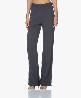 indi & cold Cotton Blend Flared Pants - Indigo