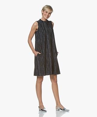 JapanTKY Amyas Travel Jersey Printed A-line Dress - Blue Black/White