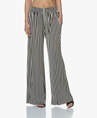 Norma Kamali Side Elephant Striped Tech Jersey Pants - Black/Ivory