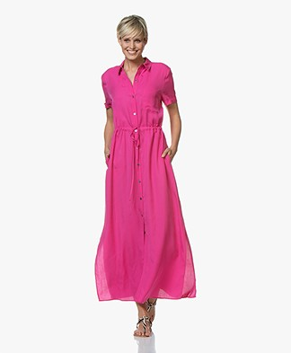 Repeat Tencel Maxi Shirt Dress - Raspberry