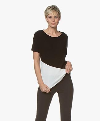 Drykorn Samela Two-Tone Rib Pullover met Korte Mouwen - Zwart/Wit