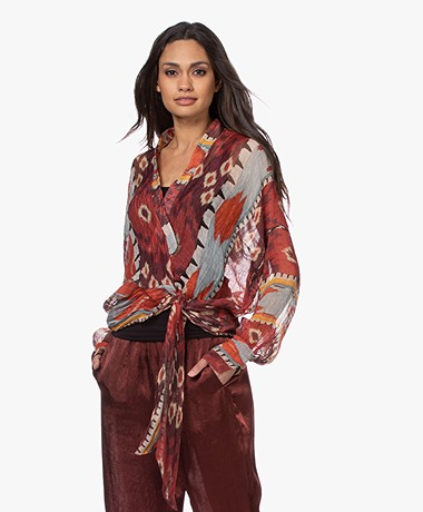 forte_forte Linen-Silk Voile Wrap Blouse with Print - Sunstone