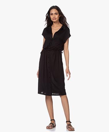 by-bar Agnes Lyocell Jersey Shirt Dress - Black
